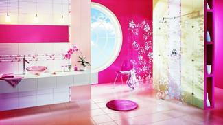 Różowa łazienka w kobiecym stylu